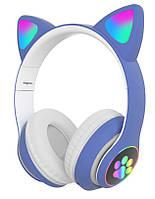Беспроводные наушники с кошачьими ушками и RGB подсветкой Cat VZV-23M Blue (95607)