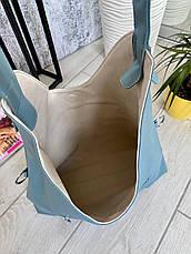 Сумка Shopper двухсторонняя 2в1 с клатчем голубая с бежевым ШОП2, фото 2