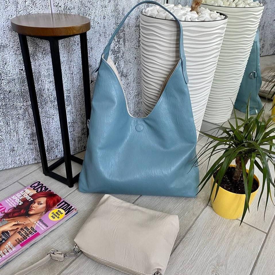 Сумка Shopper двухсторонняя 2в1 с клатчем голубая с бежевым ШОП2