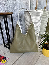 Сумка Shopper двухсторонняя 2в1 с клатчем белая с оливковым ШОП3, фото 3