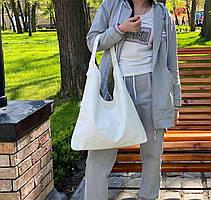 Сумка Shopper двухсторонняя 2в1 с клатчем белая с оливковым ШОП3, фото 2