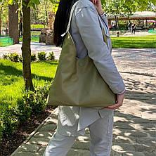 Сумка Shopper двостороння 2в1 з клатчем біла з оливковою ШОП3, фото 2