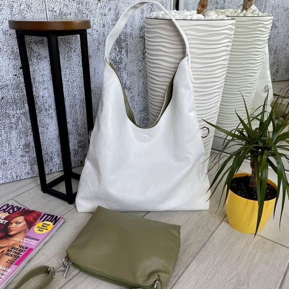 Сумка Shopper двухсторонняя 2в1 с клатчем белая с оливковым ШОП3