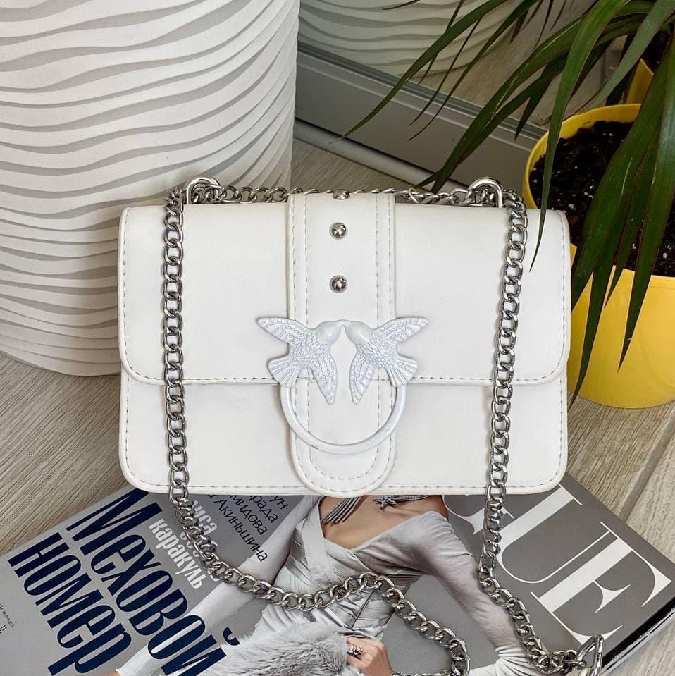 Жіночий клатч на ланцюжку Пінко білий КП48