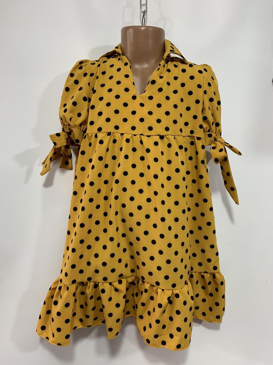 Літнє плаття для дівчинки в горох р. 6-10 років жовте