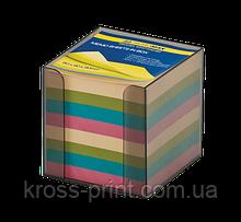 Бокс пластиковый с цветной бумагой, 90х90х90 мм, прозрачный, дымчатый