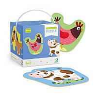 Пазлы с крупными деталями для малышей 2-3-4 элемента Домашние животные DoDo