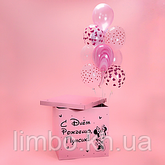 Коробка сюрприз розовая в стиле Минни Маус и шары в розовом цвете