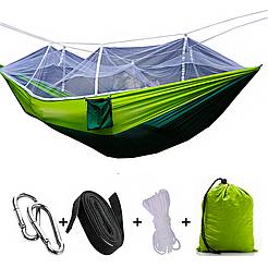 Подвесной гамак с москитной сеткой HIeha нейлоновый, с карманом, полный комплект, зеленый