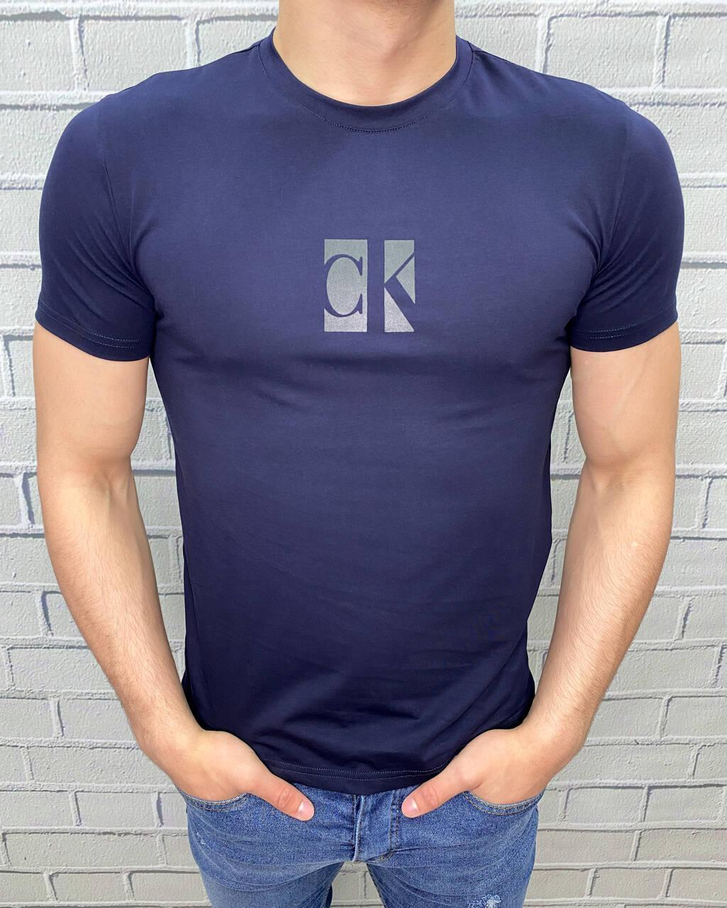 Чоловіча футболка Calvin Klein Темно-синя Ідеальна посадка Трикотаж Келвін кляйн