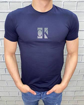 Чоловіча футболка Calvin Klein Темно-синя Ідеальна посадка Трикотаж Келвін кляйн, фото 2