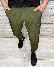 Штаны спортивные мужские  Prada Хаки На резинке и шнуровке Брюки для мужчин Плащевка, фото 3