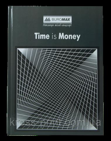 Книга канцелярська TIME IS MONEY, А4, 96 л., клітинка, офсет, тверда ламінована обкладинка, сіра