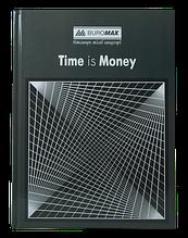 Книга канцелярская TIME IS MONEY, А4, 96 л., клетка, офсет, твердая ламинированная обложка, серая
