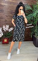 Женское летнее платье прямого кроя черное с цветочным принтом 50 52 54 56
