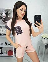 Турецкий женский спортивный костюм 42-48р, шорты + футболка женская, женский костюм летний