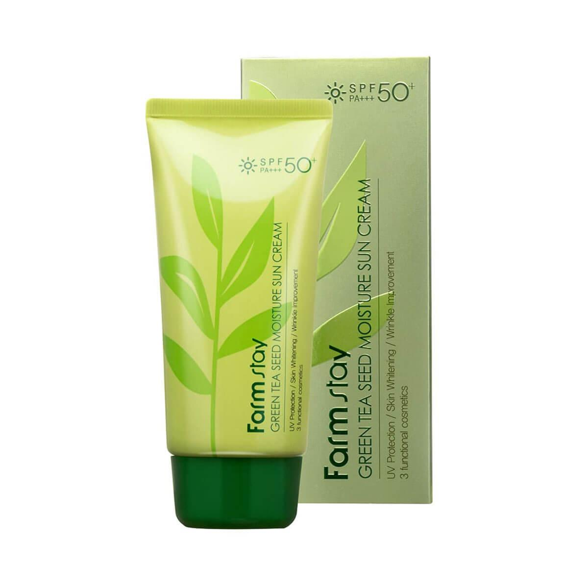 FarmStay Green Tea Seed Moisture Sun Cream SPF50 Солнцезащитный крем с зеленым чаем, 70 г