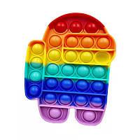 Антистресс Pop It, игрушка антистресс силиконовая Поп Ит Push Up Bubble - Амонг Ас Among Us