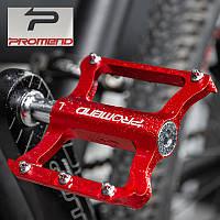 Ультралегкие алюминиевые педали Promend R41 для велосипеда 250г красные (велопедали, велосипедные топталки)