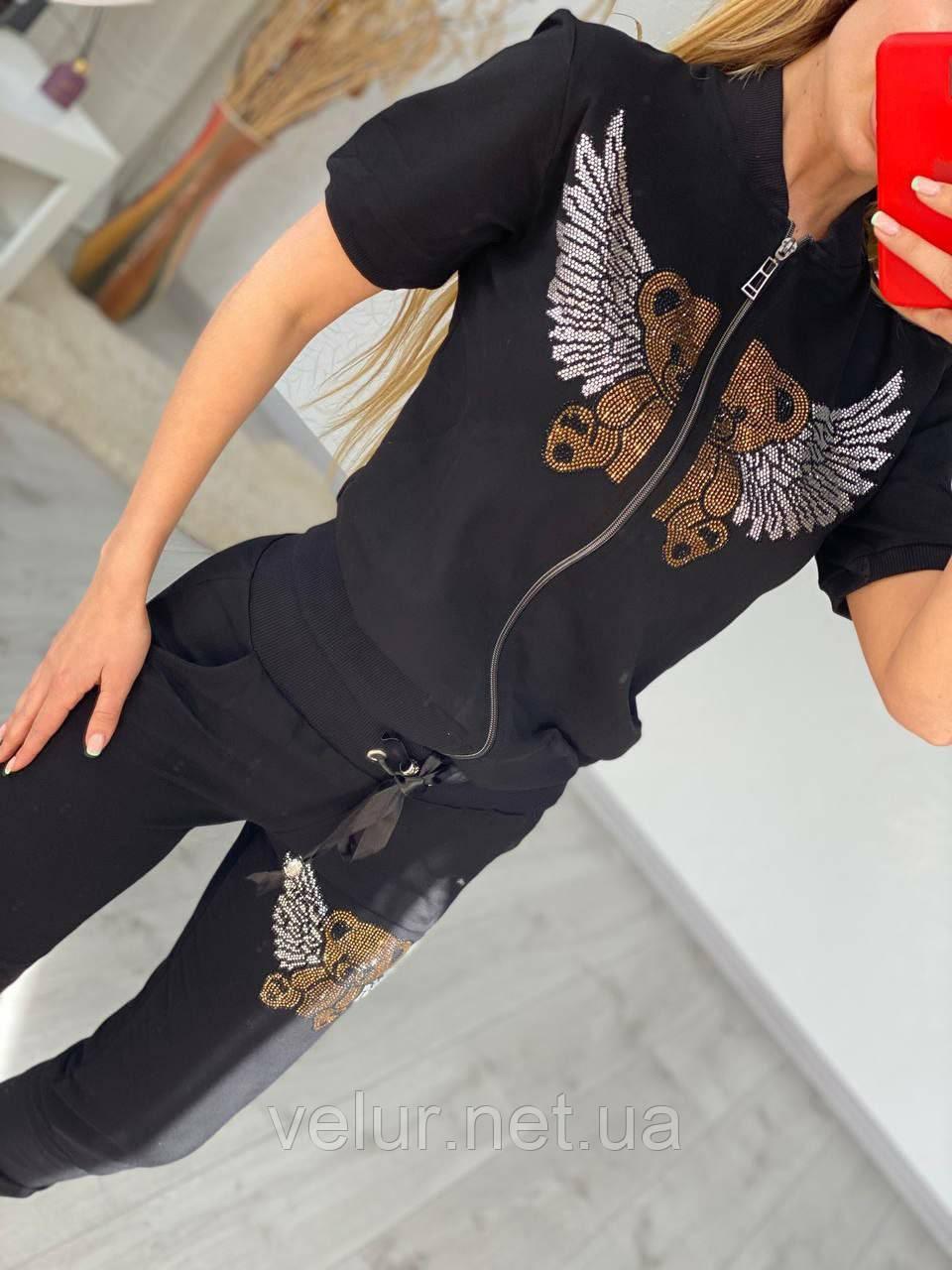 Женский летний костюм из трикотажа (Турция); размеры:С,М,Л,ХЛ полномерные Цвета черный