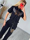 Женский летний костюм из трикотажа (Турция); размеры:С,М,Л,ХЛ полномерные Цвета черный, фото 2