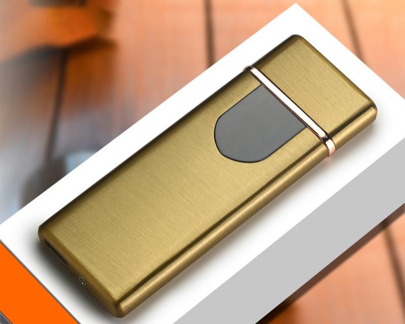 Спиральная сенсорная электрическая USB зажигалка Lighter Золотистая