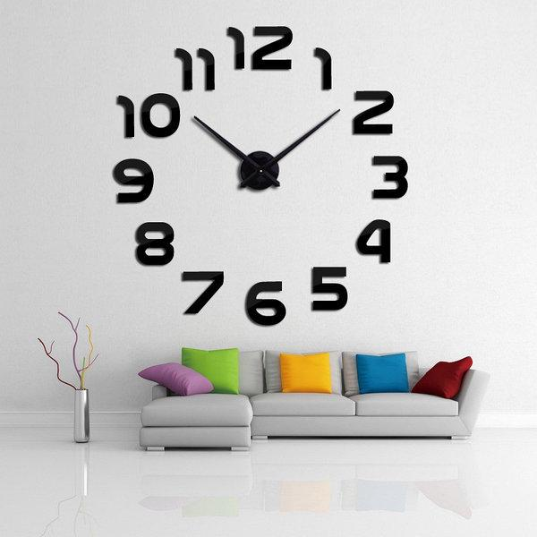 Большие настенные 3Д часы 3D часы DIY Clock 60-120 см с цифрами (Черные)