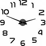 Большие настенные 3Д часы 3D часы DIY Clock 60-120 см с цифрами (Черные), фото 2