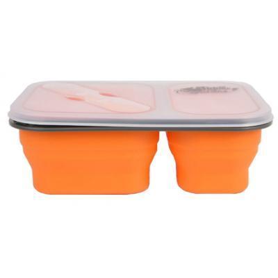 Набор туристической посуды Tramp 2 отсека силиконовый 900ml с ловилкой orange (TRC-090-orange)