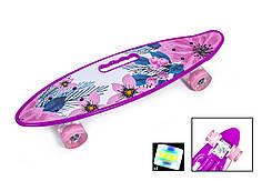"""Penny Board С Ручкой """"Violet Flowers"""" Светящиеся колеса"""