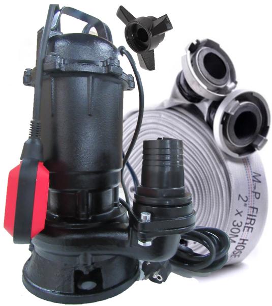 PEAKWASH / Фекальный насос с НОЖОМ AkWa PUMPS WQD2.5 кВт + рукав, гайки, трос, перч.