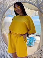 Женский летний льняной костюм шорты и туника батал, фото 1