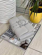 Сіра жіноча шкіряна (еко шкіра) міні сумочка - клатч на ланцюжку через плече Пінко. Міні сумка на плече, фото 3