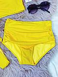 Яскравий Купальник роздільний Жовтого кольору з топом на поролонових чашках і 2 плавками тканина рубчик, фото 4