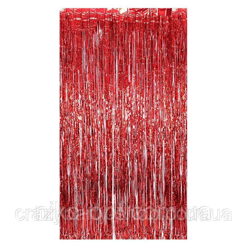 Шторка из фольги для фото  зоны красная 2 м х 1 м