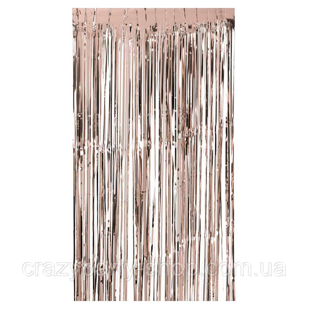 Шторка из фольги для фотозоны  розовое золото 2 м х 1 м