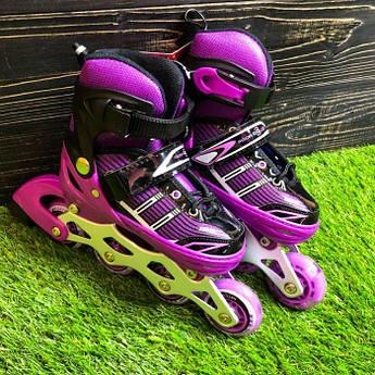 Детские ролики раздвижные Profi Roller для детей роликовые коньки ролики размер 34 35 36 37 фиолетовые