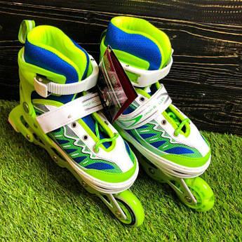 Детские ролики раздвижные Profi Roller для детей роликовые коньки ролики размер 34 35 36 37 зеленые