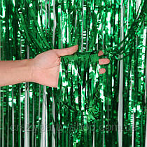 Шторка из фольги для фотозоны зеленая 2 м х 1 м