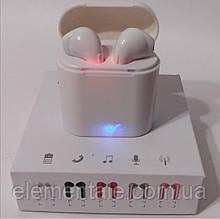 Бездротові Bluetooth-навушники TWS i7s білі з кейсом для зарядки блютуз гарнітура для телефону