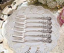 Набір посріблених десертних вилочок з трояндою на ручці, сріблення, Hildesheimer Rose, Німеччина, ANTIKO 100