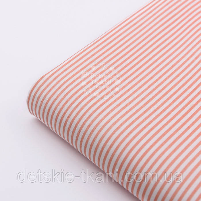 """Лоскут ткани """"Бамбук"""" коралловый на белом фоне, №318а, размер 60*33 см"""