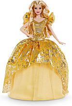 Лялька Барбі Святкова 2020 на золотій сукні колекційна Barbie 2020 Holiday