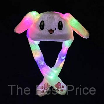 Карнавальна шапка з підсвічуванням білий зайчик з піднімаються вухами