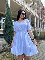Жіноче літнє коротке плаття з квадратним декольте, фото 1