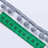 Тасьма з рідкими помпонами 10 мм середньо-сірого кольору, фото 3