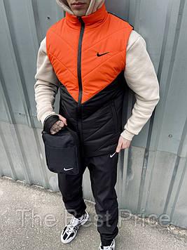 Жилетка мужская (оранжево-черная) найк штаны барсетка