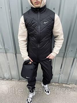Жилетка мужская черная найк штаны барсетка