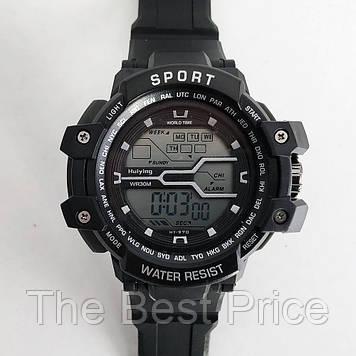 Годинник наручний, електронний, з підсвічуванням. Колір з сірими вставками