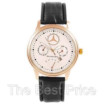 Годинник наручний Mercedes White ремінець чорний (репліка)